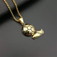 Soccer Shoes Necklace for Men Stainless Steel Gold color Football Shoes Sports Souvenir Pendants Necklaces Jewelry Gift