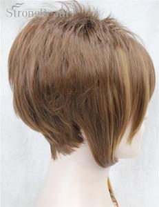 Image 3 - 強力な美少女合成天然ウェーブ短辺部ブロンドかつら前髪とスマートヘアスタイル若い女性のためのコスプレかつら