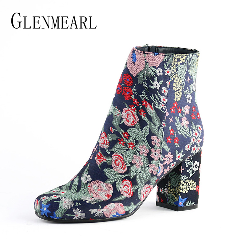 Fashion Women Boots Winter Warm High Heels Ankle Boots Woman Embroider Flower Women Shoes Round Toe Short Single Shoes Size CE enmayer shoes woman supper high heels ankle boots for women winter boots plus size 35 46 zippers motorcycle boots round toe