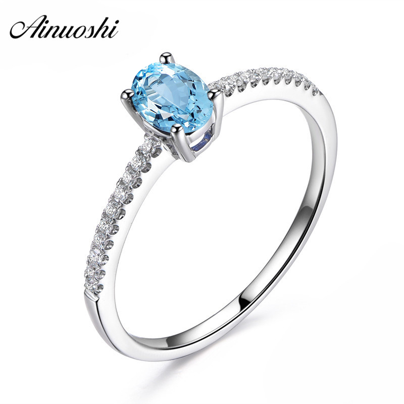 AINUOSHI Pure 925 Sterling Silver Natural Topaz Classical Ring 0.5 Carat Oval Cut Natural Blue Topaz Ring Fine Engagement RingAINUOSHI Pure 925 Sterling Silver Natural Topaz Classical Ring 0.5 Carat Oval Cut Natural Blue Topaz Ring Fine Engagement Ring