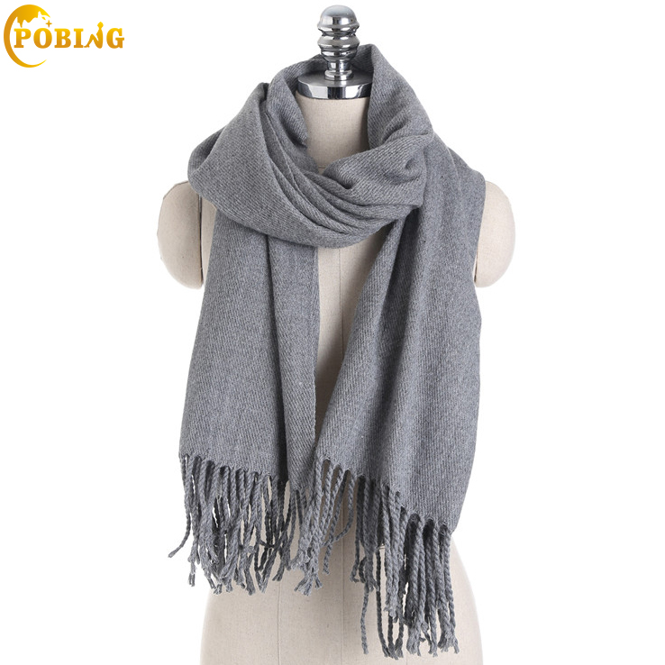 POBING Winter   Scarf   New Solid Cashmere   Scarf   Women Tassel Blanket   Scarf   New Designer Acrylic Basic Shawls Women's   Scarves     Wrap