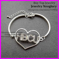 15pcs New Sale Silver Plated Crystal Rhinestone Pave Heart Shape Sorority HBCU Greek Letter words Bangle Bracelet,Wrist Bracelet