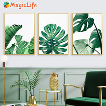 Leaf Wall Art scenery Posters And Prints Banana Leaf  Canvas Painting  Nordic posters For Living Room Decor Painting Unframed banana leaf tassel hanging painting wall decor print