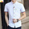 Szyid brand clothing new summer casual men shirt slim fit embroidery patchwork turn down collar camisa masculina shirts B0023