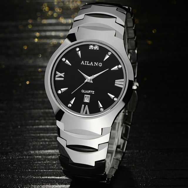 Fashion AILANG Lovers Tungsten Steel Dress Watches Vintage Roman Scale Couples Calendar Wrist watch Quartz Analog Relojes NW8007