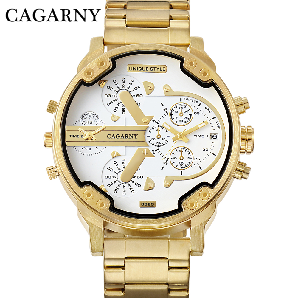 HTB14P6EKf5TBuNjSspcq6znGFXar - Cagarny Dual Display Luxury Watch Men Sport Quartz Clock Mens Watches Gold Steel Watch Relogio Masculino New