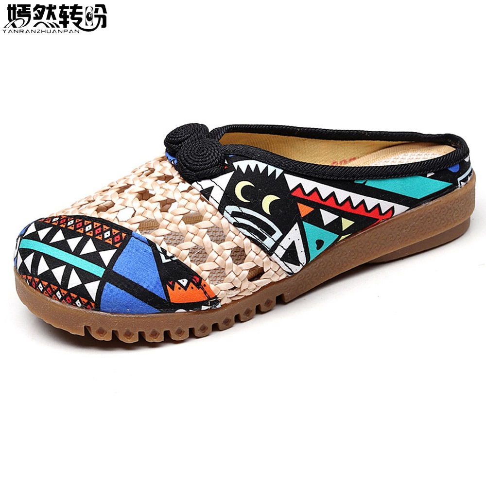 Woman Summer Slippers Vintage Breathable Close Toe Canvas Shoes Woman Chinese National Flower Embroidered Soft Slippers vintage embroidered women shoes thai boho cotton linen canvas single national woven round toe lace up cloth shoes woman flats