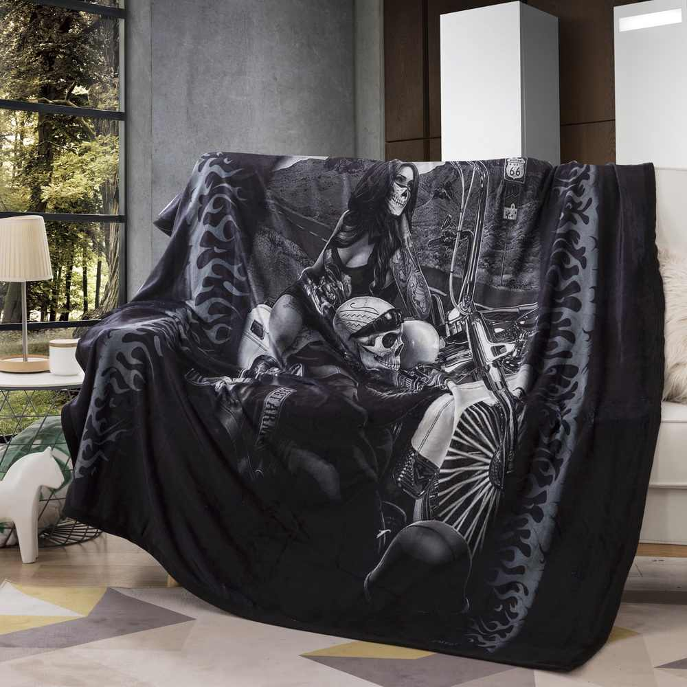 Skull Couples Microfiber Blanket Gothic Vintage Throw Blanket Black  Home Textiles  150x200cm
