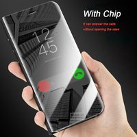 Olaf Luxury Electroplated Smart Sleep Mirror Phone Case For Samsung Galaxy S9 Note 8 For S6 S7 Edge S8 Plus With Chip Holster