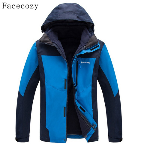 Facecozy Men Winter Outdoor Thick Fishing Softshell Jackets Breathable 2 Pieces Windproof Camping Coat Lahore