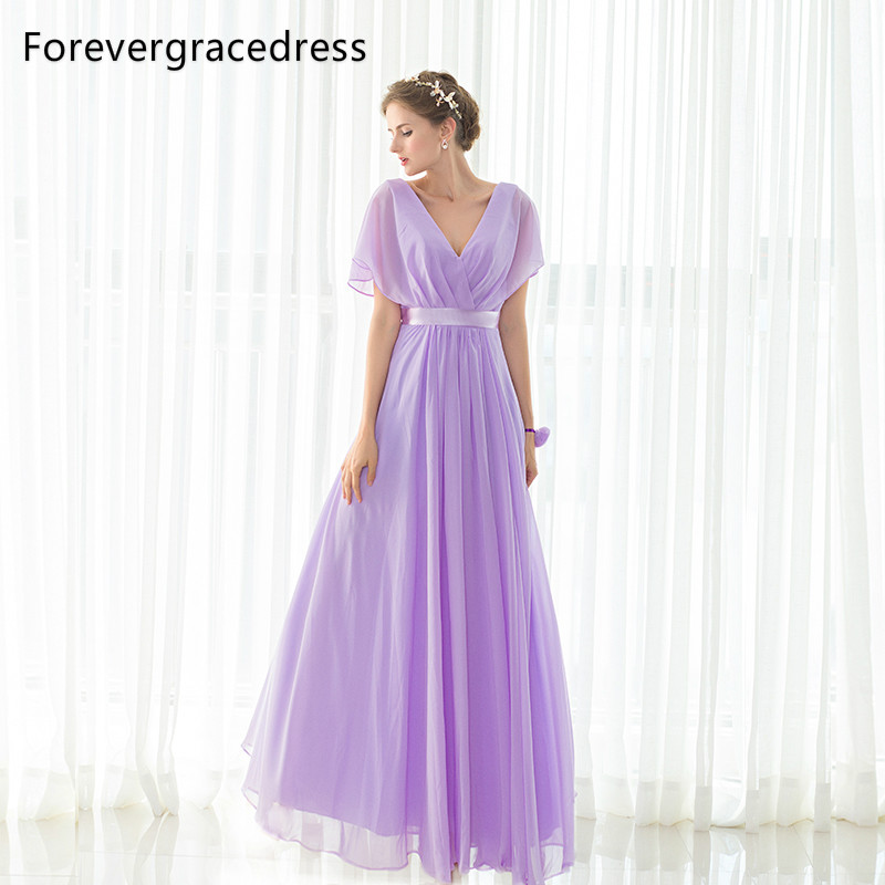 Forevergracedress Elegant Cheap Purple   Bridesmaid     Dress   New Arrival Long Chiffon Wedding Party Gown Plus Size Custom Made