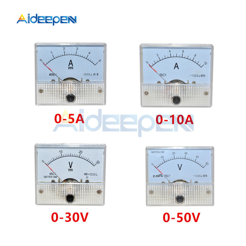 DC Analog Panel Voltmeter Ammeter Amp Volt Meter Gauge 85C1 30V 50V 5A 10A