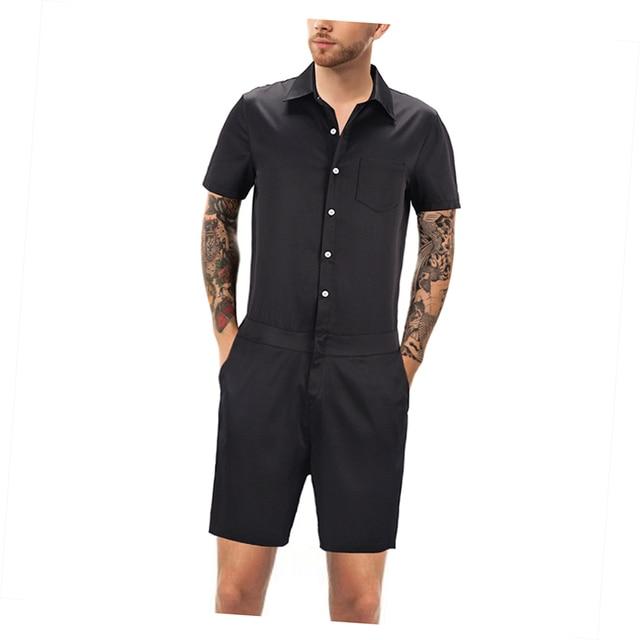 563938d460b0 Harajuku Men s Rompers Fashion Black Short Sleeve Casual Man Onesies Suit  Jumpsuit One Piece Suit Male Overalls Men s Set