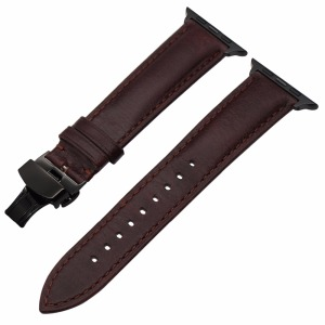 Image 5 - Italian Genuine Leather Watchband for iWatch Apple Watch 5 4 3 2 38mm 40mm 42mm 44mm Steel Butterfly Clasp Band Wrist Strap Belt