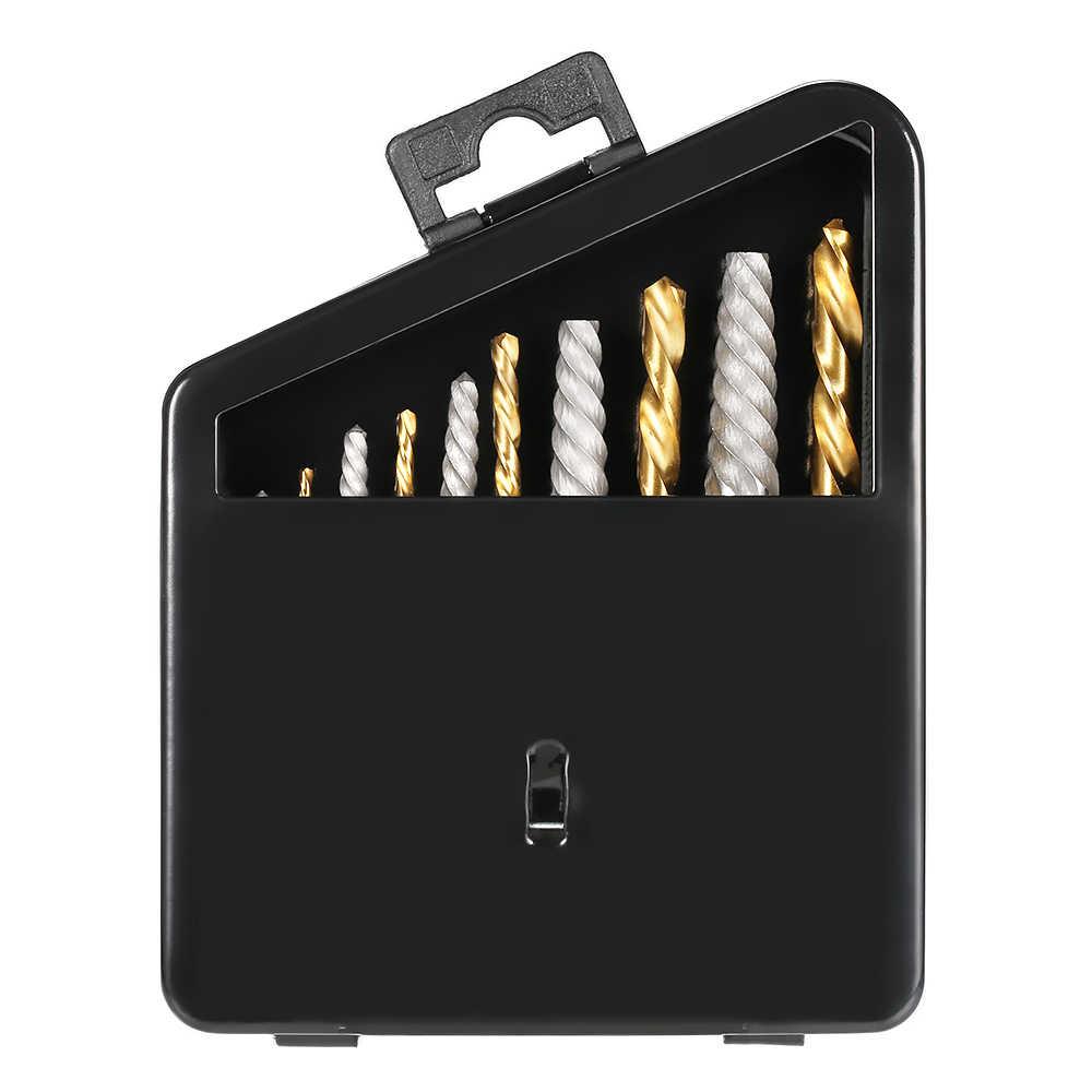 10 pcs Cobalt Esquerda Mão Broca set + Parafuso Quebrado Danificado Parafuso Extractor Set + Caixa de Metal de Alta Qualidade