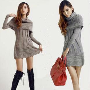 2016 Fashion Women sweater dress winter warm woman pullover poncho long knitwear +scarf shawl grey,brown,beige,black,navy blue