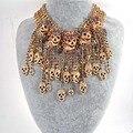 Fashion Punk Skulls Statement Necklace Crystal Rhinestone Pave Gold Plate Black Skulls Choker Sweater Necklace Jewelry For Women