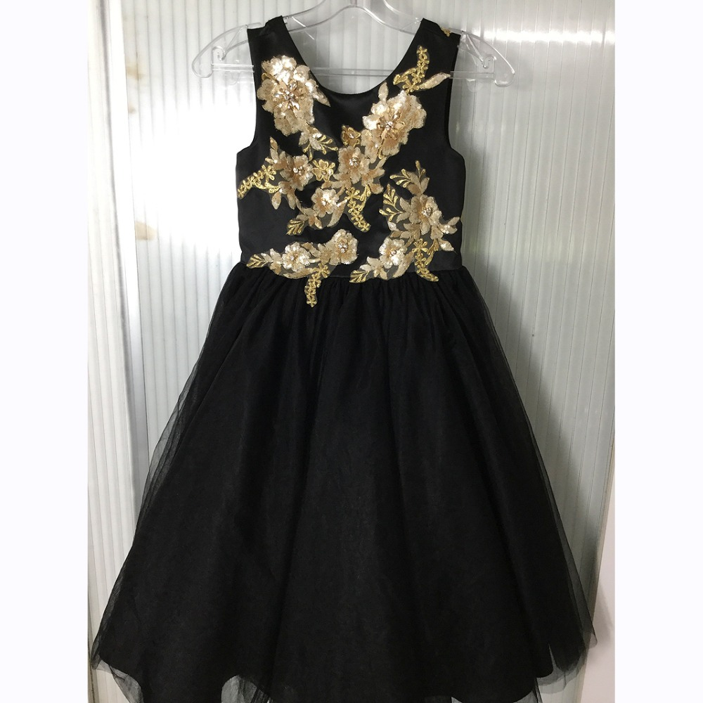 Finove Flower Girls Dress 2019 Ankle Length Appliques Seqiuned Summer Girls Party Wear Laceup Back Gowns