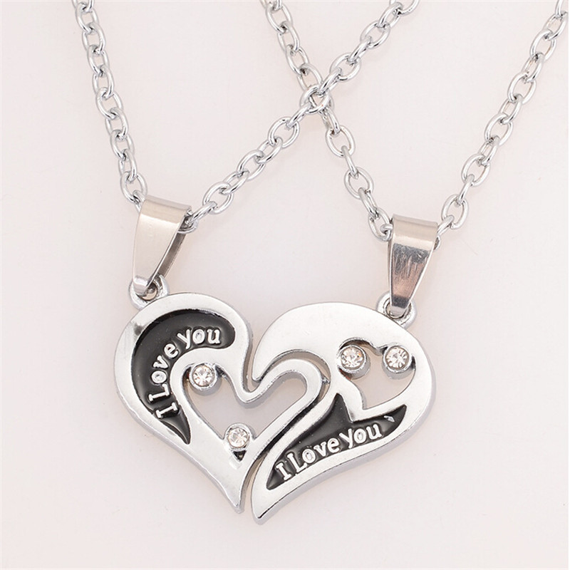 New design i love you heart shape pendant necklace 2 parts new design i love you heart shape pendant necklace 2 parts rhinestone necklaces for lover couple fashion jewelry in pendant necklaces from jewelry aloadofball Image collections