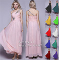 Zj0002 beads ombro chiffon rosa vestido de baile vestido vestidos