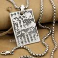 "Deep Engraved High Detail Customizable 925 Sterling Silver Skulls Dog Tag Mens Biker Rocker Punk Pendant 9X008 Steel N 24"""