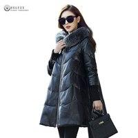 2019 New Women Genuine Leather Coat Sheepskin Long Overcoats Winter Jacket Warm Parka Fox Fur Collar Plus Size Outerwear OK1096