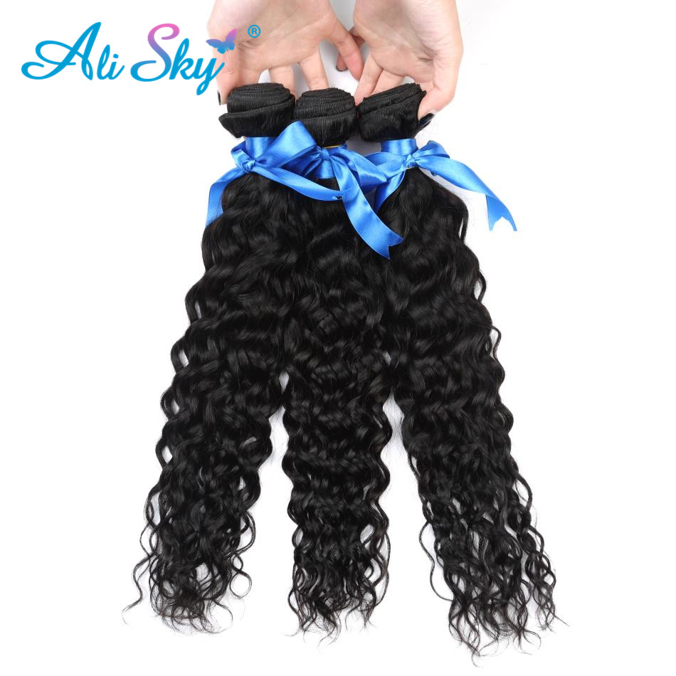 brazilian water wave non remy hair 1/3/4pcs freeshipping thick ends bundles no tangle ali sky can be dyed no shedding color 1b ...