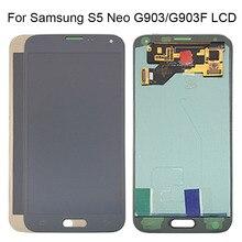 AMOLED LCD S5 Neo G903 G903F عرض 100% اختبار العمل شاشة تعمل باللمس الجمعية لسامسونج S5 Neo شاشة الكريستال السائل غالاكسي مع أدوات