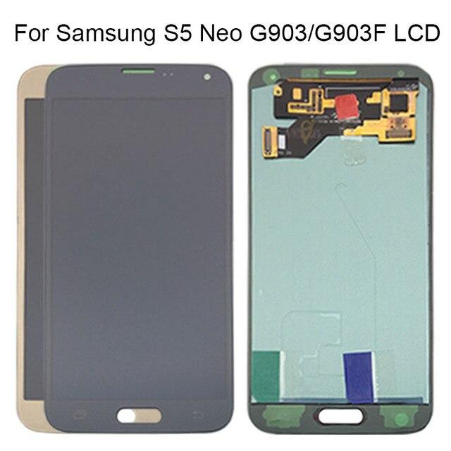 AMOLED LCD S5 Neo G903 G903F Display 100% Getestet Arbeits Touchscreen Montage Für Samsung S5 Neo LCD Display Galaxy mit Werkzeuge
