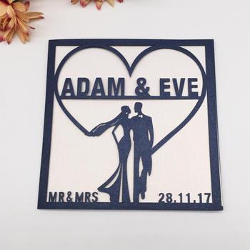 100pcs/lot Custom Name&Date Wedding Invitations Card Bride&Bridegroom Laser Cut Romantic Wedding Invitation Cover