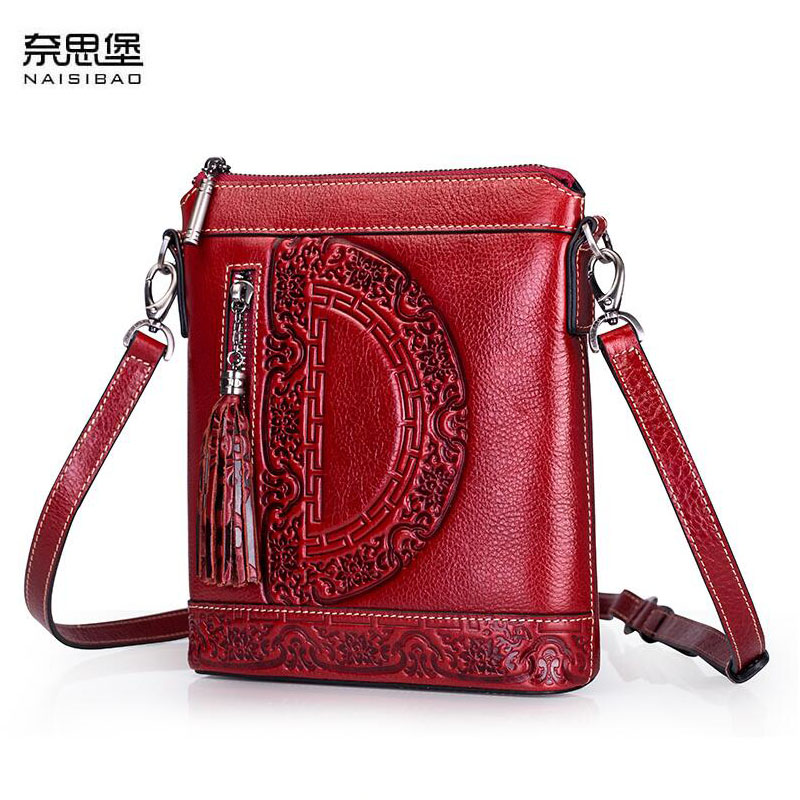 NAiSIBAO 2018 New top Cowhide women genuine Leather bag Embossed fashion luxury handbags designer women leather shoulder bag 2016 new women genuine leather bag fashion chinese style top quality cowhide embossing women leather handbags shoulder bag
