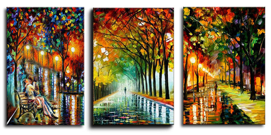 3 Pieces Diamond Embroidery Full Square 5D DIY Diamond Painting Abstract Landscape,Cross Stitch kits,Mosaic,new year decoration