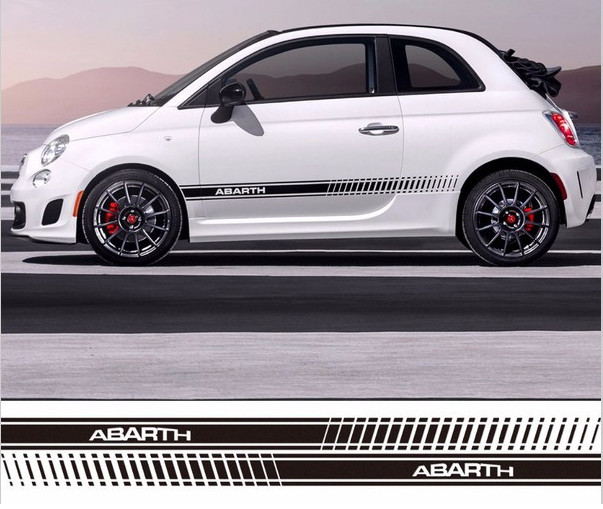 Free Shipping Car Styling Abarth Side Skirt Sticker Racing Stripe Body Stickers Car Styling for Fiat Bravo / Palio Car-Styling free shipping hilux racing side stripe graphic vinyl sticker for toyota hilux first impressions