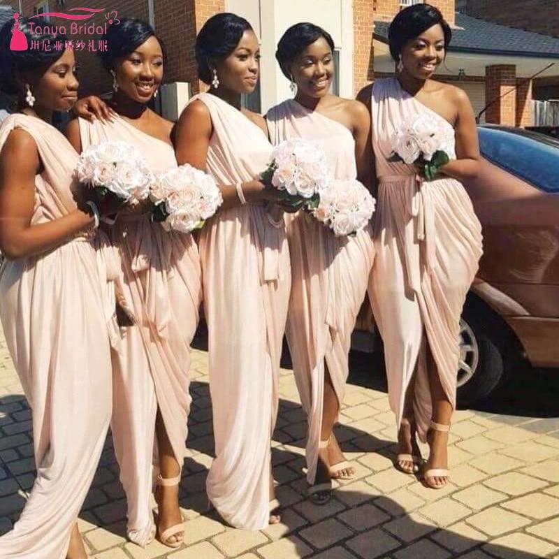 Aliexpress.com : Buy Beige One shoulder Bridesmaid dresses Arabic ...