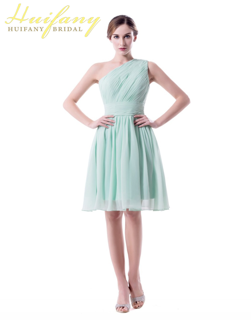 Sage Mint Green Short Bridesmaid Dresses One Shoulder Plus Size 2018 ...