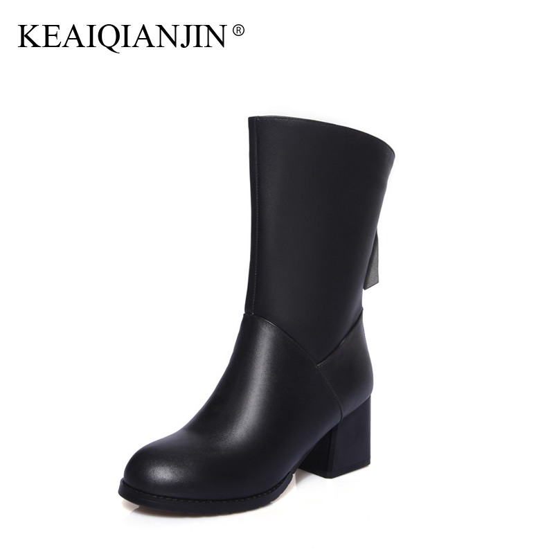 KEAIQIANJIN Woman Genuine Leather Ankle Boots Winter Autumn Black Red Bottine Plus Size 33 - 44 Shoes High Heels Boots 2017 women boots plus size 35 43 genuine leather autumn winter ankle boots black wine red shoes woman brand fashion motorcycle boot