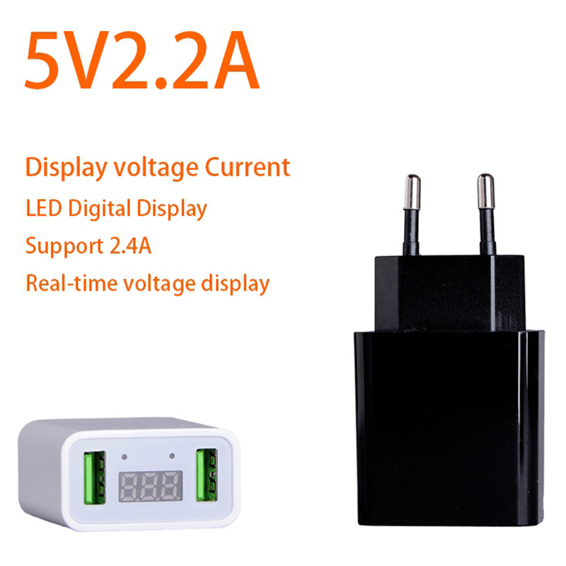 5V 2.1A Dual USB Phone Charger LED Display Smart Fast Charging Mobile Wall Charger for iPhone iPad Samsung EU/US Travel Adapter