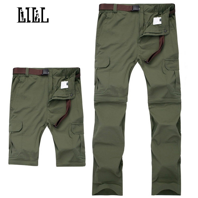 LILL | 7XL Amovible À Séchage Rapide Pantalon Imperméable Hommes 2017 D'été Voyage Pantalon Joggers Noir Khaki Hommes de Pantalon Occasionnel, UA329