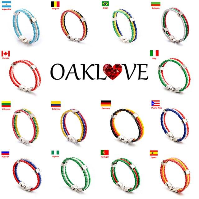 Men & Women National Flags Colorful Braided Bracelet Football Fans PU Leather Bracelets&Bangles Souvenir Gifts Fashion Jewelry