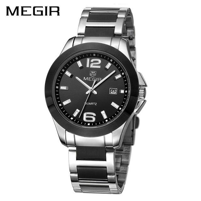 MEGIR מקורי גברים שעון נירוסטה עסקים קוורץ שעונים לוח שנה שעון יד שעון גברים Relogio Masculino