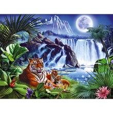 5D DIY diamond embroidery tiger&waterfall  painting Cross Stitch full drill Rhinestone mosaic home decoration