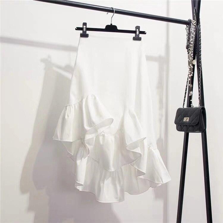 Женские ассиметричные юбки Marwin, однотонные уличные юбки в Корейском стиле с ассиметричными оборками, весна-лето 2019