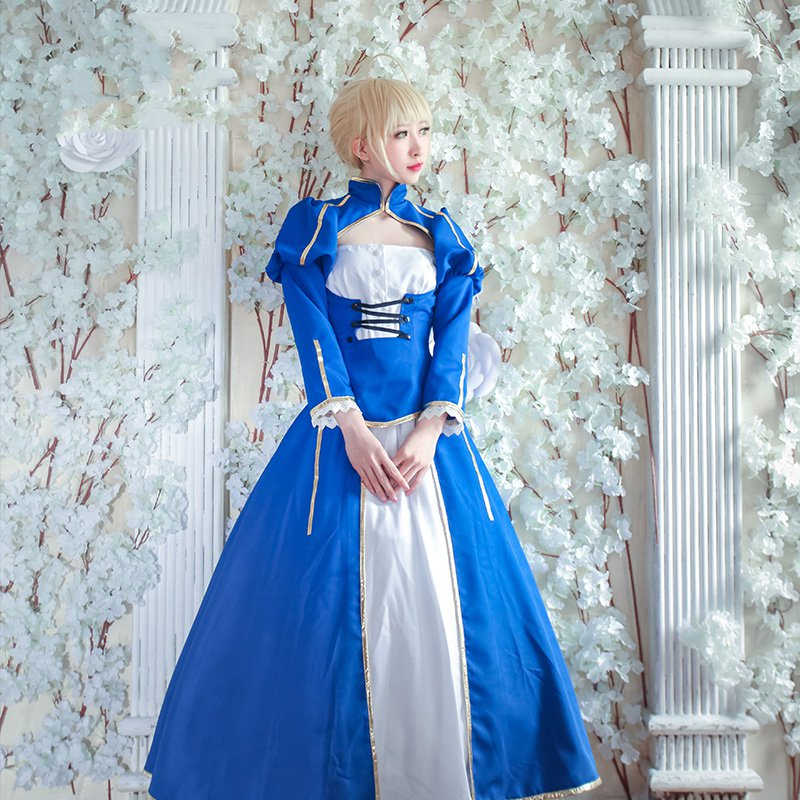 Amine FGO Fate/Extella Saber Blue Uniforms Cosplay Costume Arturia Pendragon Blue White Fighting Suit