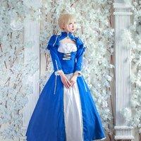 Amine FGO Fate/Extella Saber Blue Uniforms Cosplay Costume Arturia Pendragon Blue White Fighting Suit