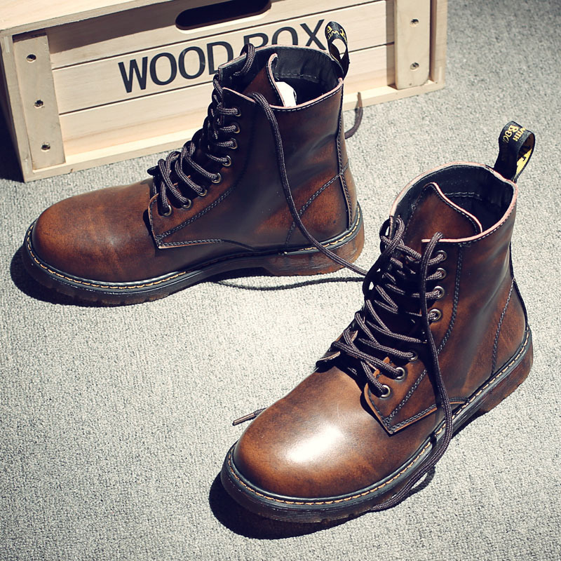 Spring Autumn Fashion Men Boots Casual Men Shoes Lace Up Motorcycle Boots Lovers Cow Leather Boots