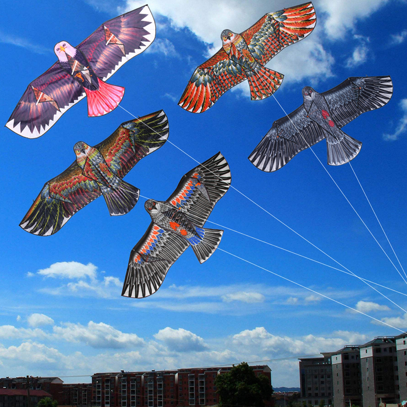 1.1m Flat Eagle Kite With 30 Meter Kite Line Children Flying Bird Kites Windsock Outdoor Toys Garden Cloth Toys For Kids Gift