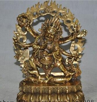 """SUIRONG---426+++9"""" Tibet Buddhism bronze gilt 6 Arms Vajra Mahakala god Buddha Ganesha Statue"""