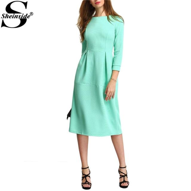 Sheinside 2017 Autumn Green Three Quarter Length Sleeve Party Dresses A Line Midi Round Neck Dress Women Elegant Midi Dress