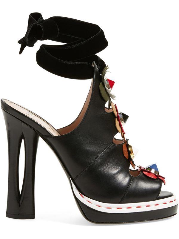 Модные модельные Босоножки с открытым носком, украшенные цветами; пикантные босоножки со шнуровкой и вырезами на необычном каблуке; модные ... - 2