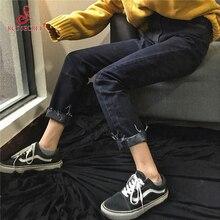 RC 'S SECRET Женщин жан Эластичный Пояс Высокие Черные Талии Тонкий прямой Ногой Край Джинсы Женские Брюки Плюс Размер женской Моды брюки